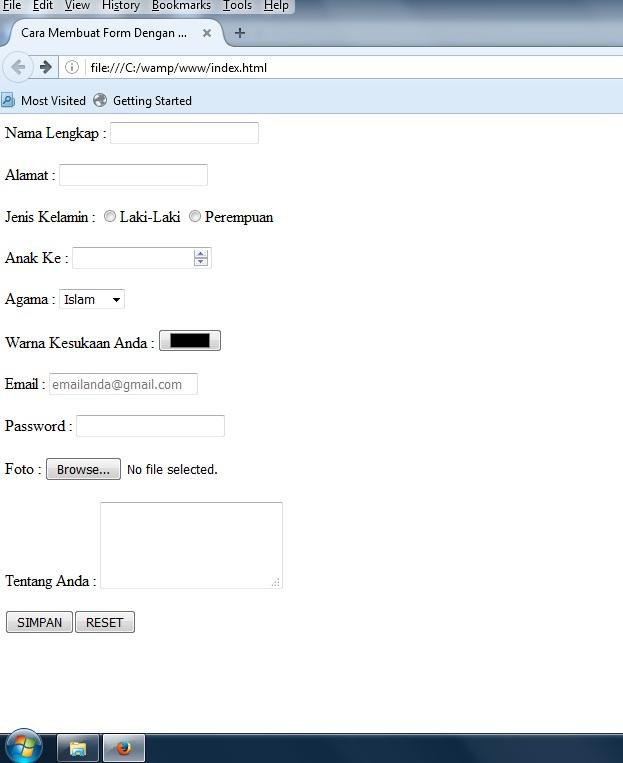 Cara Membuat Form Input Biodata Menggunakan Html5 Desain Website It Melankolis